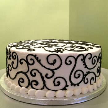 Scroll Layer Cake - Black & White