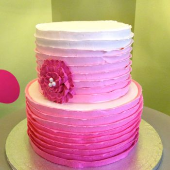 Country Ribbon Ombre Tiered Cake