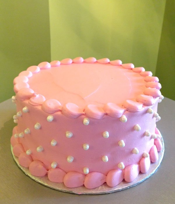 Sugar Pearl Button Layer Cake - Pink