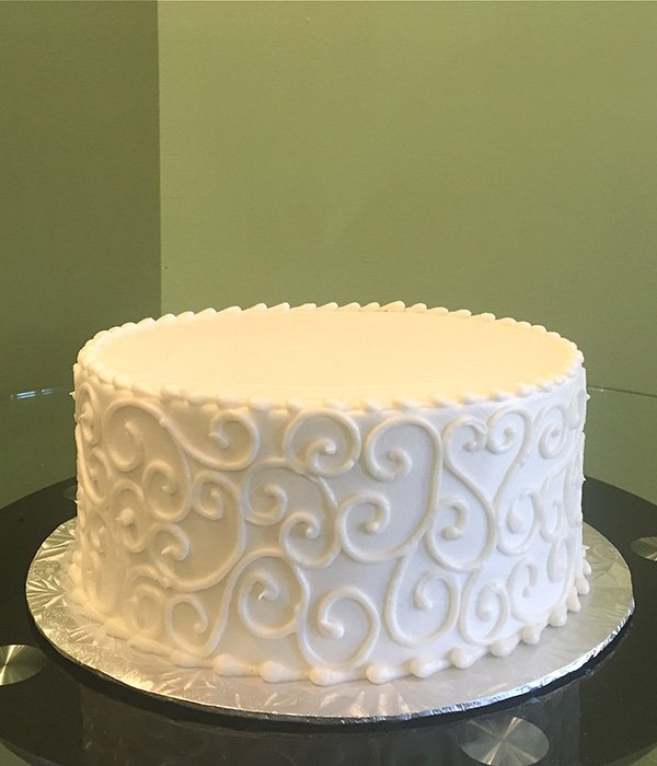 Red And White One Tier Wedding Cake