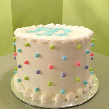 Sugar Pearl Button Layer Cake - Multicolor