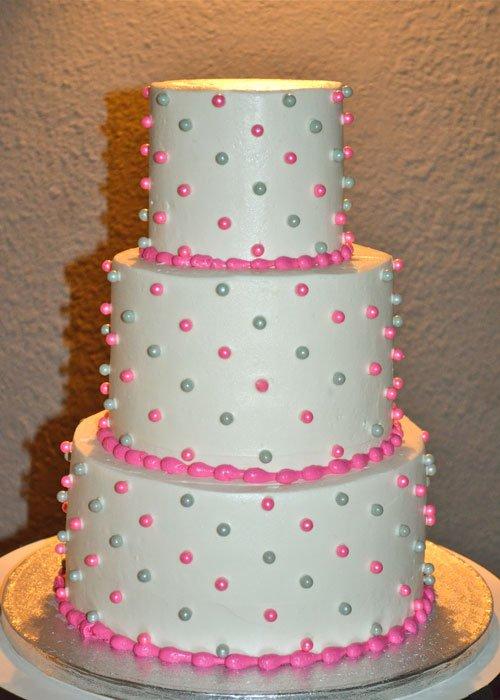 Sugar Pearl Button Wedding Cake - Pink & Silver