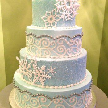 Winter Wedding Cake - Snowflakes