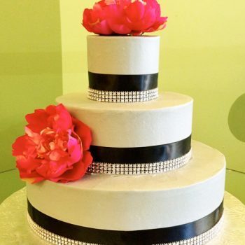 Country Ribbon Wedding Cake, Grey & Blue
