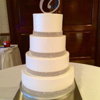 Crystal Wedding Cake, White with Topper