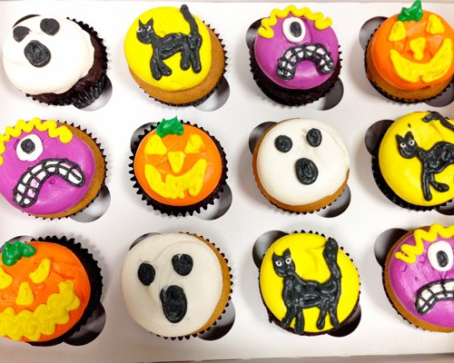 Halloween Cupcakes - Black Cat Monster Ghost