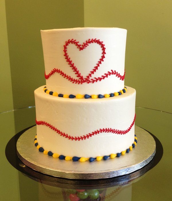 Baseball Heart Tiered Cake