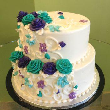 Charlotte Tiered Cake - Turquoise & Purple