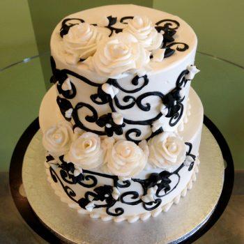 Charlotte Tiered Cake - Black & White