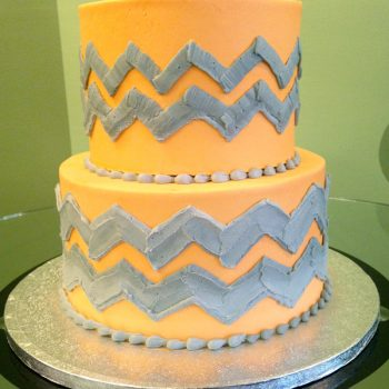 Chevron Tiered Cake - Orange Grey