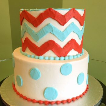 Chevron Tiered Cake - Red Aqua