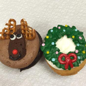 Christmas Cupcakes - Reindeer Wreath