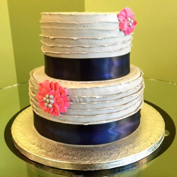 Country Ribbon Tiered Cake - Grey Navy