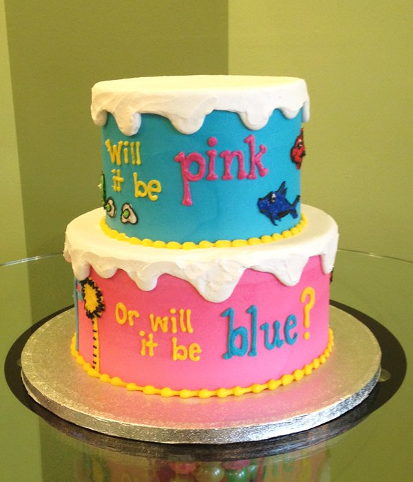 Gender Reveal Who's Inside Tiered Cake