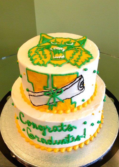 Graduation Mascot Tiered Cake