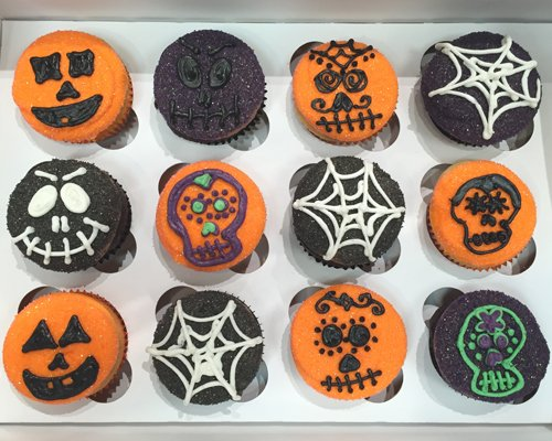 Halloween Cupcakes - Skulls Spiderwebs Jack-o-Lanterns
