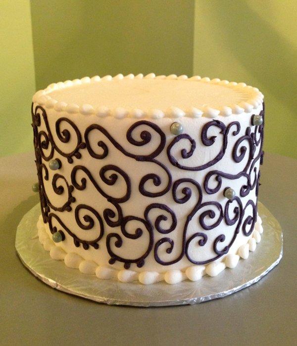 Scroll Layer Cake - White & Purple