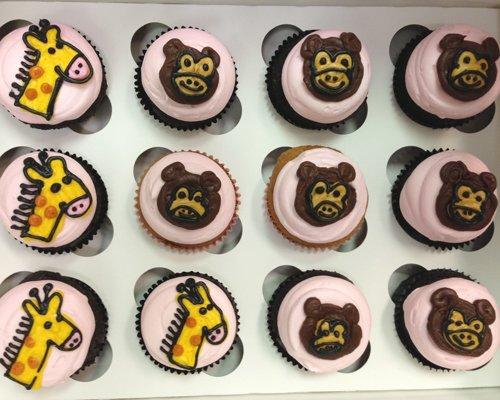 Animal Outline Cupcakes - Giraffe Monkey