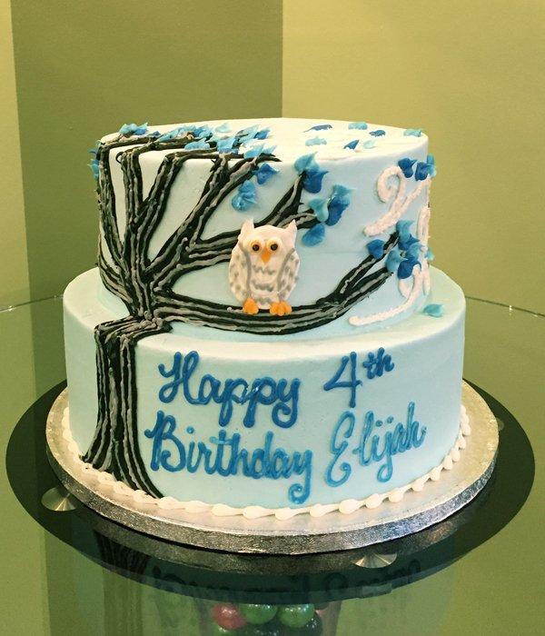 Owl Tree Tiered Cake