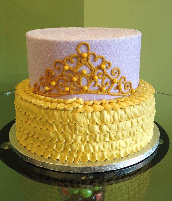 Princess Tiara Tiered Cake - Purple Gold