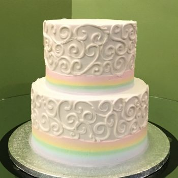 Rainbow Border Scroll Tiered Cake