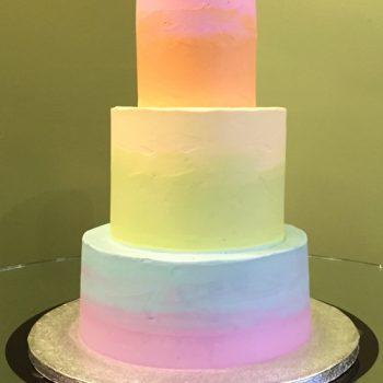 Rainbow Ombre Wedding Cake