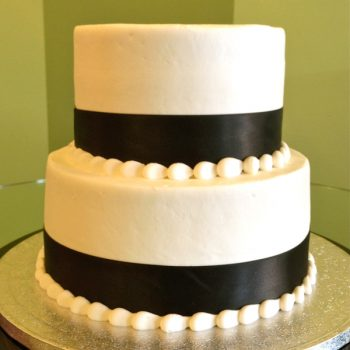 Ribbon Tiered Cake - Black White