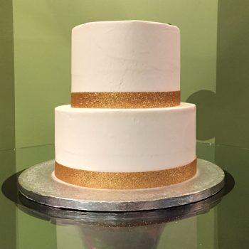 Ribbon Tiered Cake - Gold