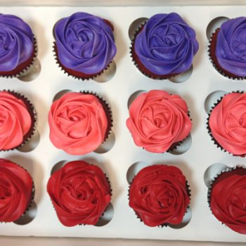 Rosette Cupcakes - Purple Coral Red
