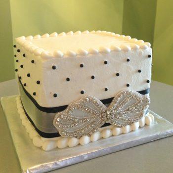 Sugar Pearl Ribbon Layer Cake - Square