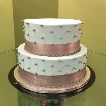 Sugar Pearl Ribbon Tiered Cake
