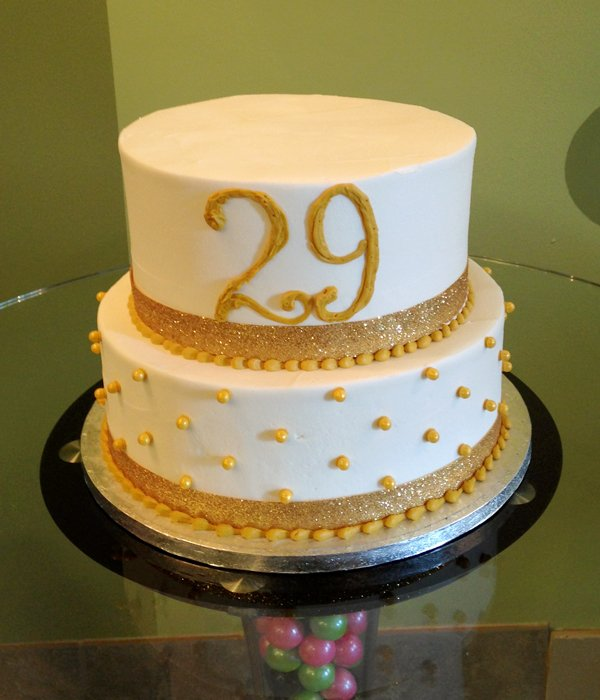 Sugar Pearl Ribbon Tiered Cake - Gold