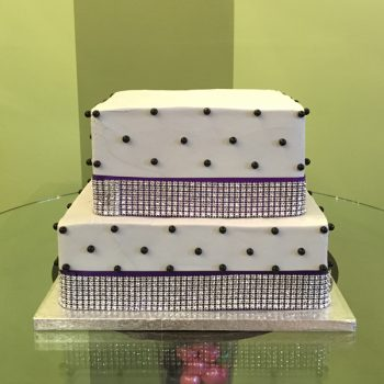 Sugar Pearl Ribbon Tiered Cake - Grey Purple