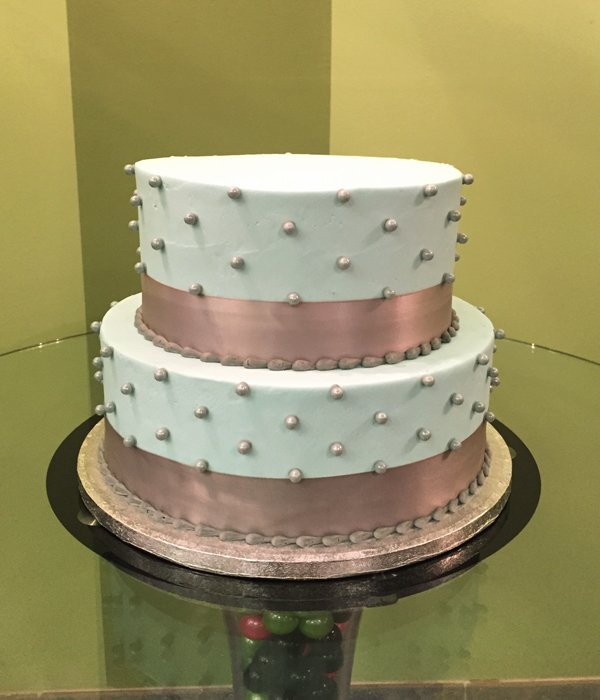 Sugar Pearl Ribbon Tiered Cake