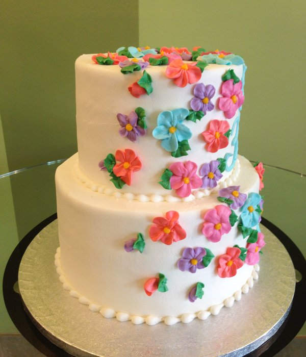 Sweet Flower Tiered Cake Classy Girl Cupcakes