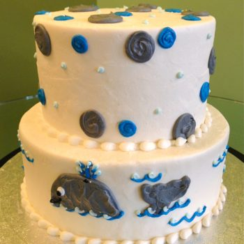 Whale Tiered Cake - White