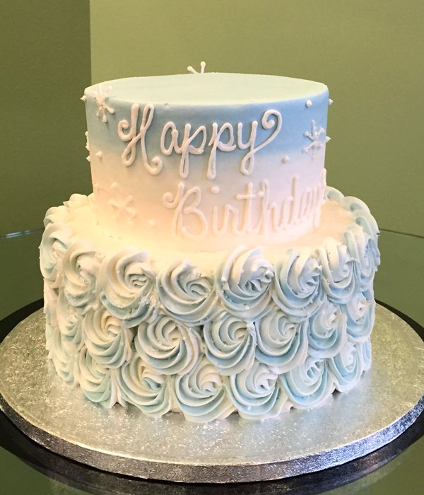 Rosette Ombre Tiered Cake - Front