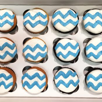 Chevron Decorated Cupcakes