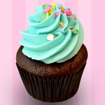 Chocolate Birthday Cake Cupcake - Blue Buttercream