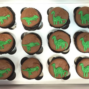 Dinosaur Decorated Cupcakes - Chocolate