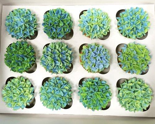 Hydrangea Cupcakes - Blue Green