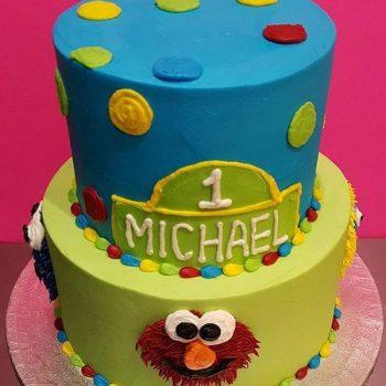 Sesame Street Tiered Cake - Blue & Green Top