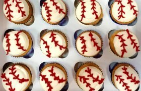 Baseball Decorated Cupcakes