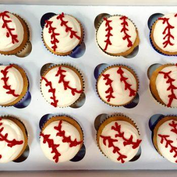 Baseball Decorated Cupcakes