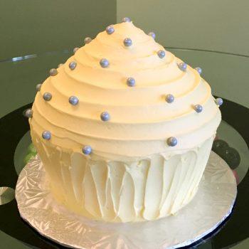 Giant Cupcake Cake - Yellow & Grey