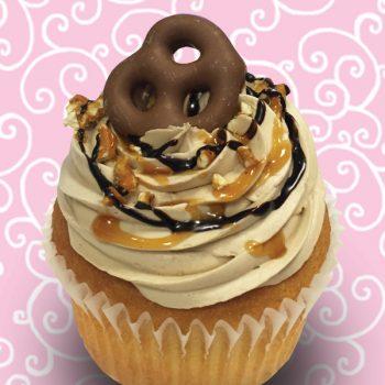 Gooey Pretzel Crunch Jumbo Filled Cupcake
