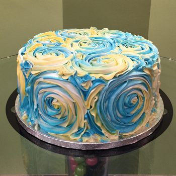 Giant Rosette Layer Cake - Blue & Yellow