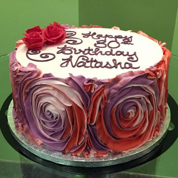 Giant Rosette Layer Cake - Red & Pink