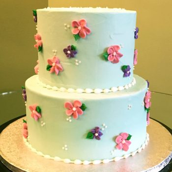 Sweet Flower Tiered Cake - Blue