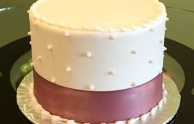 Sugar Pearl Ribbon Layer Cake